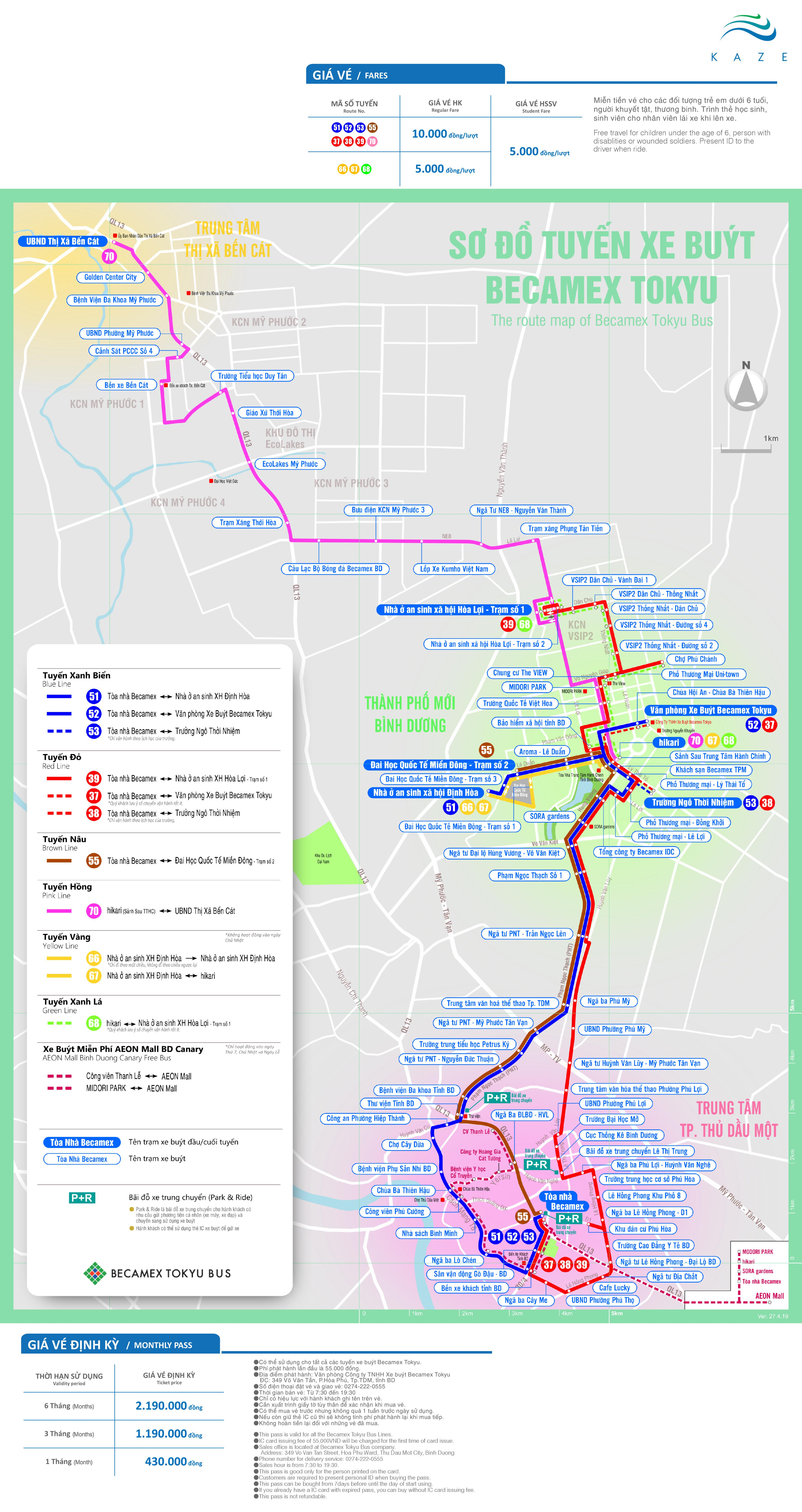 Route Map Becamex Tokyu Bus